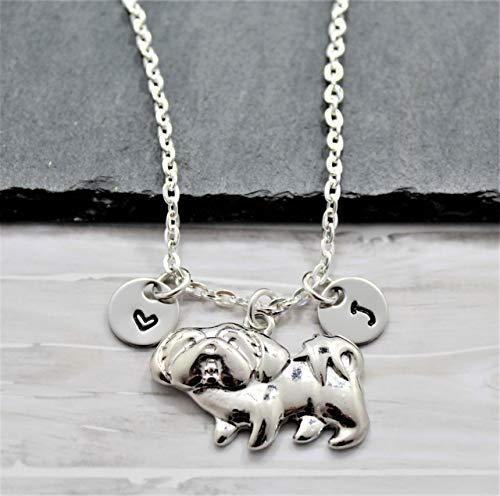 Shih Tzu Necklace - Personalized Initial - Shih Tzu Jewelry for Women - Fast Shipping