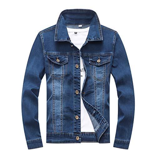 YUKE Boy's Denim Jacket Loose Casual Denim Jacket Children's Fashion Slim Kid Elastic Denim Jacket 9-14 Age (Blue, 11-12 Years/Reference Height 24/152)