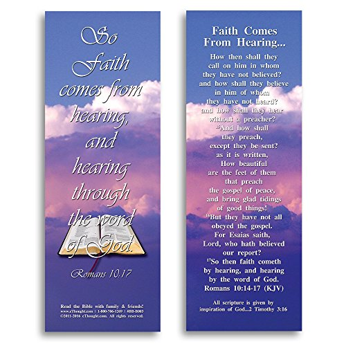 Bible Verse Cards, by eThought  Romans 10:17 - Faith Comes From Hearing - Pack of 25 Bookmark Size Cards for reading, study, gifts and encouragement.