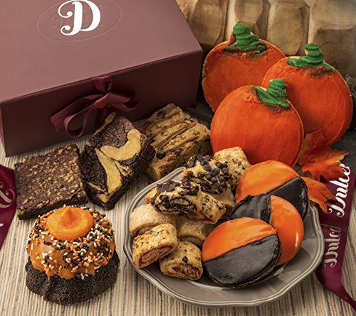Dulcet's Autumn Gift Box- Includes Halloween Chocolate Mini Bundt Decorated, Chocolate Cheeses Brownie, Blondie, Pumpkin Cookies, Sprinkle Cookies, and Assorted Rugelach! Top Fall Gift! (Halloween Decorated Cookies Ideas)