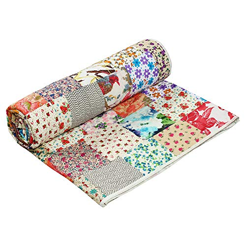 - Aakriti Gallery Flower Patch Quilt Polyfill Print 100% Cotton Bedspread Printed Quilt Throw Indian Handmade bedsheets (108X90 INCH)