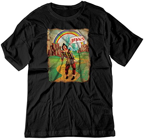 BSW Men's Brains Scarecrow The Wizard of Oz Zombie Vintage Shirt MED Black ()