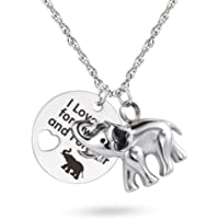 I Love You for Always and Forever Elephant Urn Necklace for Ashes Cremation Urn Pendant Keepsake Jewelry
