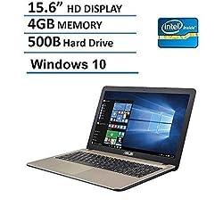Asus 15.6-Inch Laptop (Intel Dual Core Celeron N3050, 4GB RAM, 500GB Hard Drive, HD LED Backlit Display, DVD/CD Burner, HDMI, VGA, Wifi, Webcam, Windows 10), Chocolate Black