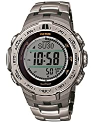 Casio PROTREK Slim Line Series Solar Multiband 6 Triple Sensor Ver.3 Titanium Band Men's Watch PRW-3100T-7JF (Japan Import)