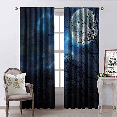 Gloria Johnson Halloween Shading Insulated Curtain Bats Flying in Majestic Night Sky Moon Nebula Mystery Leafless Trees Forest Soundproof Shade W52 x L108 Inch Blue Black -