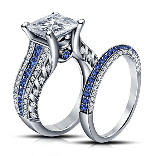 TVS-JEWELS Dazzling Princess Cut CZ & Round Blue Sapphire Wedding Band Engagement Ring Set in 925 Sterling Silver (6) (Princess Cut Accent)