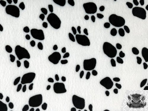 Velboa Faux / Fake Fur Paw Print WHITE Fabric By the Yard