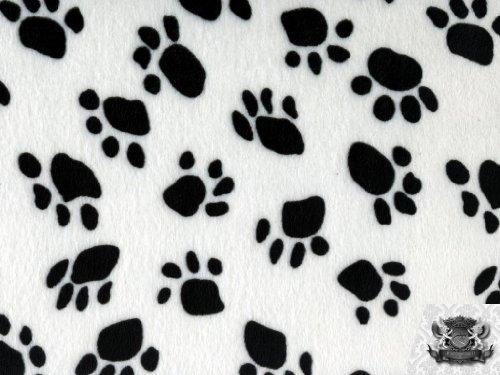 (Velboa Faux / Fake Fur Paw Print WHITE Fabric By the Yard)