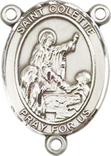(Sterling Silver Saint Colette Rosary Centerpiece Medal, 3/4 Inch)
