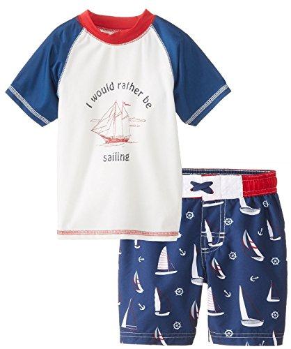 Rugged Bear Little Boys' Toddler Boat Sailing Rash Guard Tee And Swim Short Set, Navy, 2T