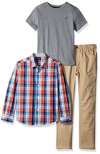 Nautica Toddler Boys' Long Sleeve Button up, Tee and Pant Set, Firework, 3T