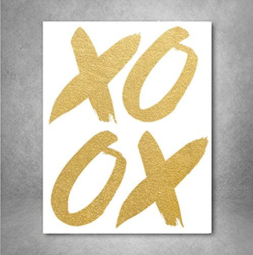 (XOXO Gold Foil Art Print, Hugs and kisses Word Art Wall Decor, inspiration print, Real Foil 8x10 inches A4)