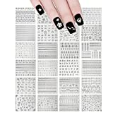 ALLYDREW Holographic Nail Stickers Metallic Letters, Numbers & Patterns Nail Stickers Nail Art (24 sheets)