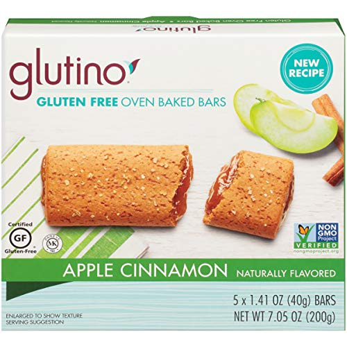 Gluten Free by Glutino Oven Baked Bar, Apple Cinnamon, Naturally Flavored, 5 Count