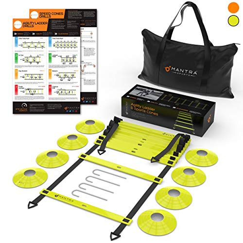 (20ft Agility Ladder & Speed Cones Training Set | Exercise Workout Equipment To Boost Fitness & Increase Quick Footwork | Kit for Soccer, Lacrosse, Hockey & Basketball | With Carry Bag & Drill Charts)