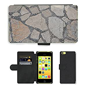 PU Cuir Flip Etui Portefeuille Coque Case Cover véritable Leather Housse Couvrir Couverture Fermeture Magnetique Silicone Support Carte Slots Protection Shell // M00158443 Antecedentes de la calle de piedra // Apple iPhone 5C