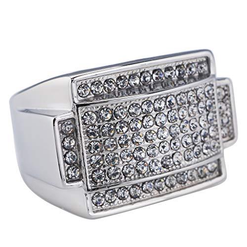 NIV'S BLING - 14K White Gold-Plated Iced Out Rectangular Pinky Ring Size - Big Ring Rectangular