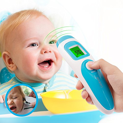 Liaboe Non Contact Infrared Forehead Thermometer, 3 in 1 Body/Surface/Room Temperature Reading Device, LCD Three Color Over Temperature Alarm Display Baby Adults Thermometer, FDA Approved by Liaboe (Image #1)