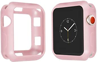 Shockproof Plastic Case Cover Matte Color for Apple iWatch 44MM (Light Pink)
