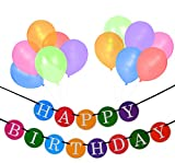 Happy Birthday Banner and Balloon Pack - Birthday Decorations -Party ...
