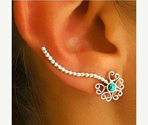 Silver Ear Cuff - Ear Climber - Climber Earrings - Ear Wrap - Earcuff Jewelry - Cuff & Wrap Earrings - Wrap Earrings - Earcuff Jewelry - Gemstone Ear Cuff - Turquoise Ear Cuff - Right Ear