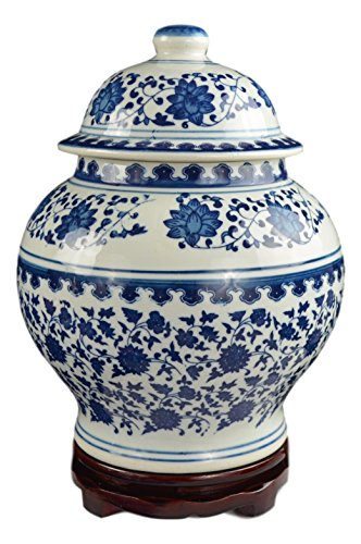 Classic Blue and White Porcelain Covered Jar Vase, China Ming Style, Jingdezhen, Free Wood (Ginger White Vases)