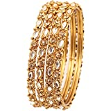 Touchstone New Golden Bangle Collection Indian Bollywood Classy Mughal Era Inspired Kundan and Filigree Work Designer Jewelry Bangle Bracelets. Set of 4 in Antique Gold Tone for Women.
