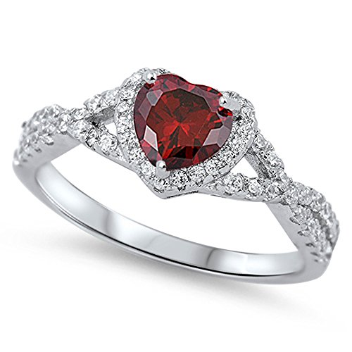 Simulated Garnet Infinity Knot Heart Promise Ring .925 Sterling Silver Band Size 7 (RNG15950-7) (Garnet Rings Sterling Silver compare prices)