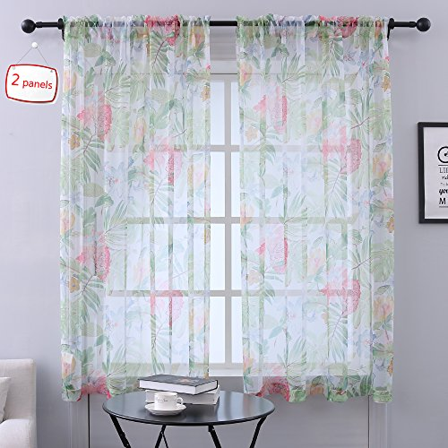 - HOLKING Floral Sheer Curtains for Bedroom- Patterned Curtains for Living Room with Rod Pocket,52 W x 63 inch Long, 2 Panels