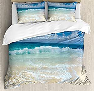 Ambesonne Wave Duvet Cover Set by, Beach with Foamy Waves on Empty Sea Shore Holiday Theme Serene Coastal, Decorative Bedding Set with Pillow Shams, Blue White Sand Brown