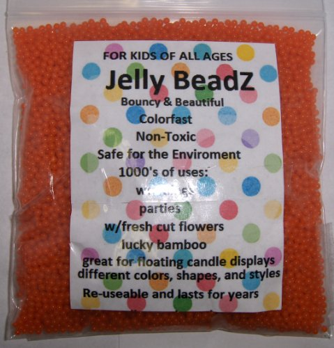 Orange Flower Beads - JellyBeadZ Water Bead Gel 8 Ounce -Almost 15,000- Orange- Heat Sealed Bag- Water Pearls Gel Beads- Wedding & Event Centerpieces