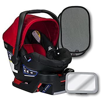 Image of Baby Britax B-Safe 35 Infant Car Seat, Cardinal, Back Seat Mirror, and 2 EZ-Cling Window Sun Shades