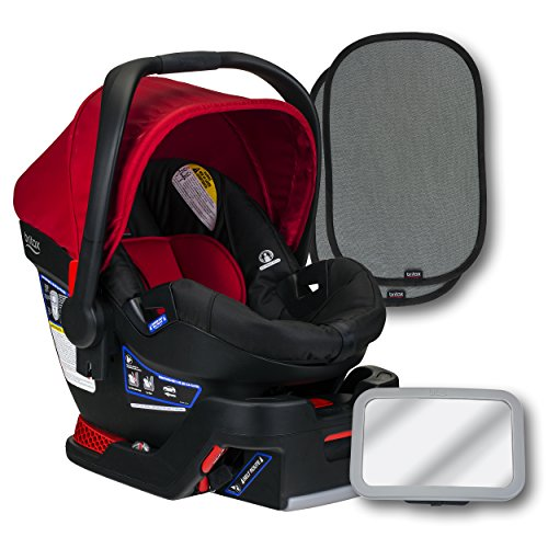 Britax B-Safe 35 Infant Car Seat, Cardinal, Back Seat Mirror, and 2 EZ-Cling Window Sun ()