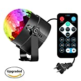 Sound Activated Party Strobe Lights, Hangau 7 colors Mini Rotating Magic Ball, Disco Stage Lighting Effect LED Bulb with Remote for Halloween Xmas Holiday Celebration Birthday Karaoke Decoration Lamp
