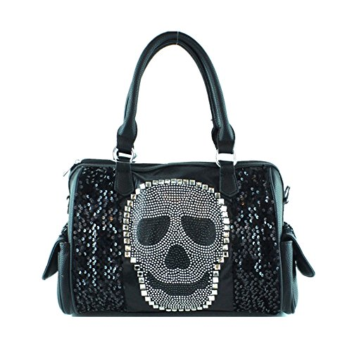 Premium Rhinestone Studded Skull Bling Boston Bag in 4 Colors - Boston Handbag Black