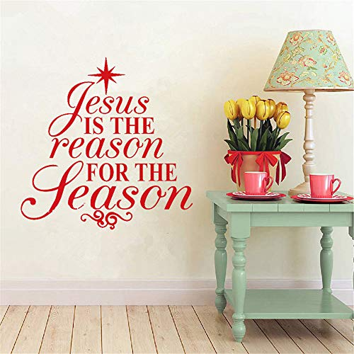 Wall Decal Sticker Art Mural Home Decor Quote Christmas Tree Jesus is The Reason for The Season Decals Home Decor Living Room Holiday (Improvement Quotes Christmas Home)