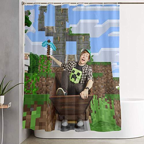 Shower Curtain, Dan-TDM Minecraft Bathroom Fabric Curtains Farmhouse Tub Large Bath Curtain Set with Rings