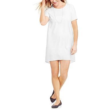 bdc099256c525 Faded Glory Women's Woven Hi-Low Tee T-Shirt Dress (Large, Arctic White) at  Amazon Women's Clothing store: