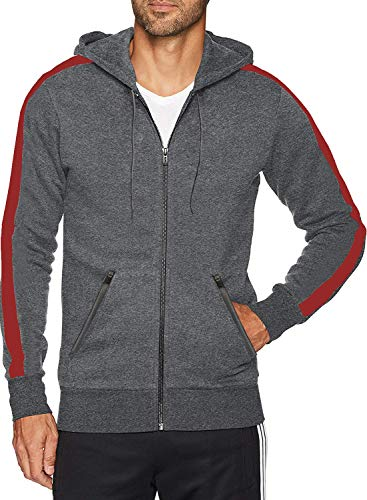 - Men's Fitted Stripe Casual Workout Sweatshirt Zip Up Hoodie Top (L,Red