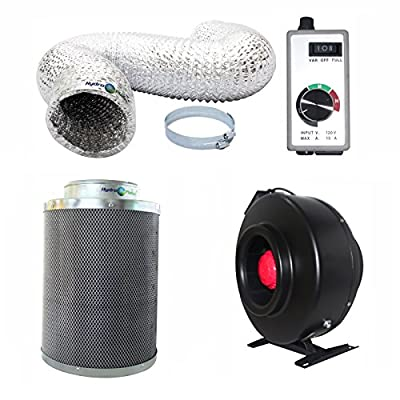 Hydroplanet™ 8-inch Inline Fan Carbon Air Filter and 25-feet Ducting Combo (8-inch)