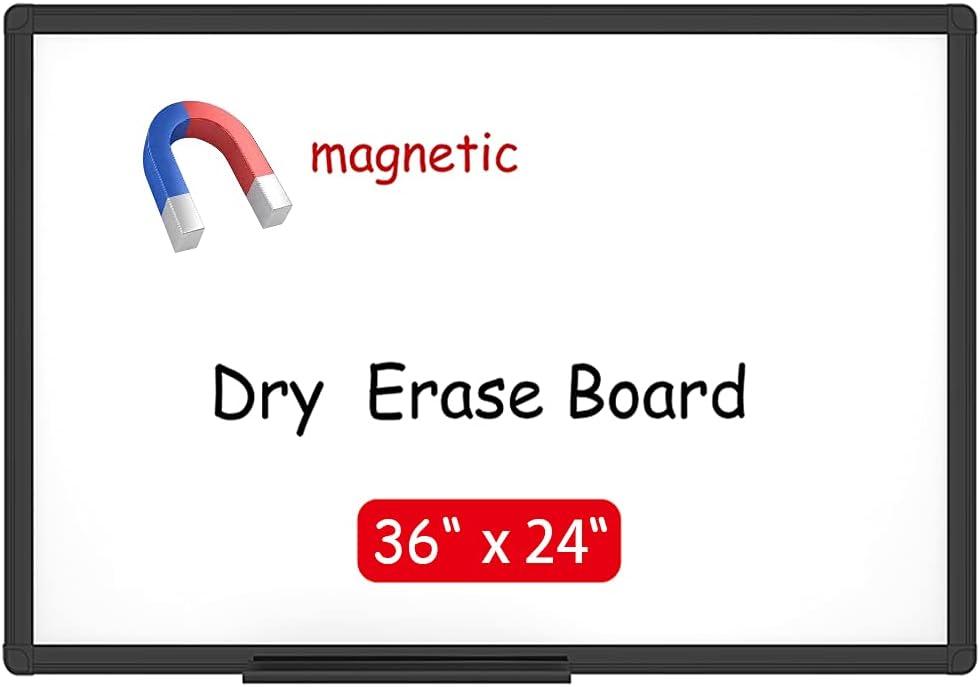 VIZ-PRO Magnetic Dry Erase White Board, 36 X 24 Inches, Black Aluminium Frame