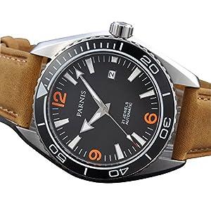 Whatswatch Parnis 45mm Sapphire Glass Ceramic Bezel Luminous Automatic Men 316L Watch PA-0102