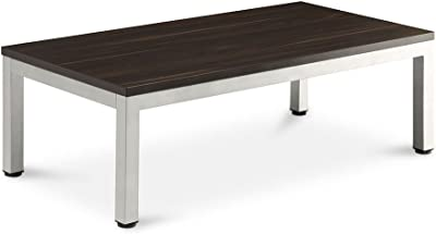 "Compass Coffee Table - 48""W x 24""D Dark Walnut Laminate Top/Silver Painted Metal Legs and Frame Dimensions: 47.24""W x 23.62""D x 15.75""H Weight: 52 lbs."