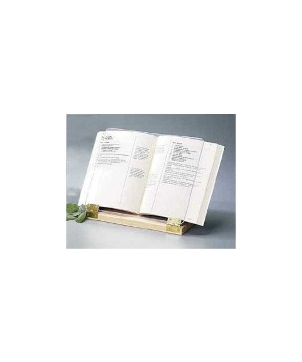 Original Hinged Cookbook Holder - Acrylic Shield With Wood Base and Brass Plated Hinges - Made in the USA by Clear Solutions
