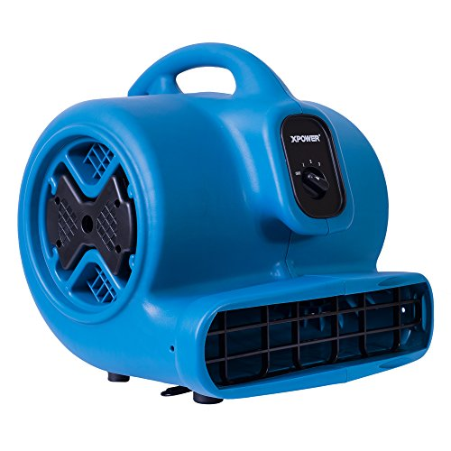 XPOWER P-630 Air Mover, Carpet Dryer, Floor Fan, Blower for Water Damage Restoration, Commercial Cleaning and Plumbing Use-1/2 HP, 2800 CFM, 3 Speeds, Blue