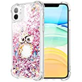 Caka Flower Case for iPhone 11 Floral Glitter Case Liquid Protective Bling Sparkle Flower Pattern TPU Cushion Bumper Women Girls Fashion Flowing Pink Phone Case for iPhone 11 (6.1 inch)(Owl)
