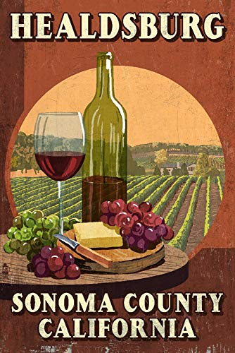 (Healdsburg, California - Sonoma County - Wine Tasting Vintage Sign 98126 (24x36 Giclee Gallery Print, Wall Decor Travel Poster))