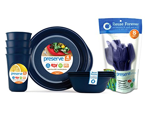 Preserve Everyday Tableware Set with Cutlery, Midnight Blue (Best Everyday Dishes)
