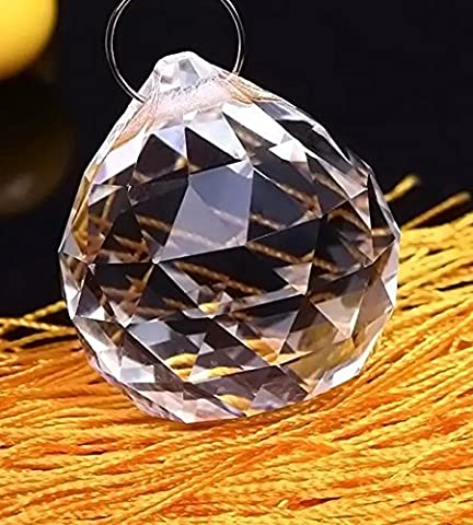6 Pcs Crystal Clear Chandelier Ball Prism for Suncatcher Feng Shui/ Wedding Decor/ Ceiling Lamp Lighting Hanging Chandelier Drop 1.57 inch / (Crystal Suncatcher Chakra)